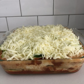 Many layers for Zucchini Lasagna with Chicken