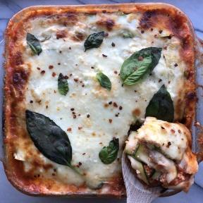 A slice of Zucchini Lasagna with Chicken