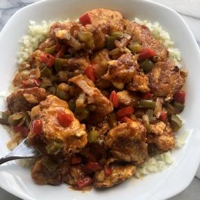 Gluten-free Sweet & Sour Chicken over Cauliflower Rice