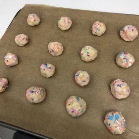 Making gluten-free Funfetti Cookies