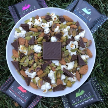 Gluten-free trail mix with Surge Chocolate and nuts