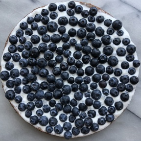Gluten-free Blueberry Cheesecake with whipped cream and blueberries