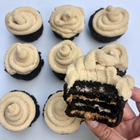 Bite of Peanut Butter Creme Cookie Stuffed Brownie Cupcakes