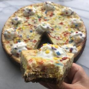 Gluten-free slice of Funfetti Cheesecake