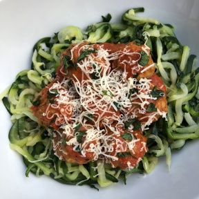 Gluten-free zoodles and meatballs by Rosina