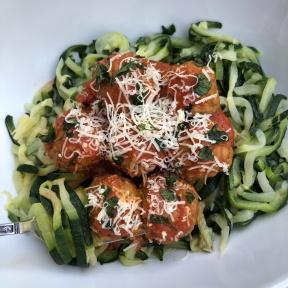 Delicious gluten-free zucchini noodles and meatballs