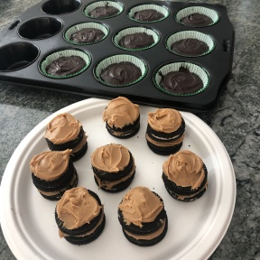 Making Peanut Butter Creme Cookie Stuffed Brownie Cupcakes