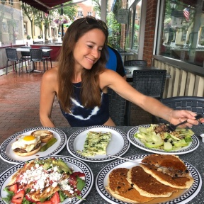 Jackie eating at New Canaan Diner
