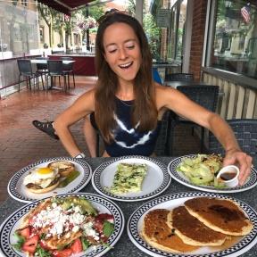 Jackie McEwan eating at New Canaan Diner