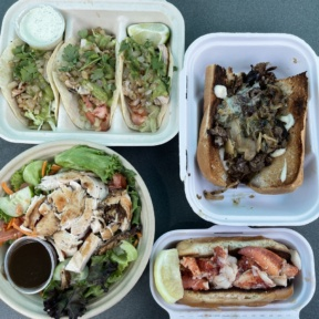 Gluten-free lobster roll and Philly cheesesteak from Heibeck's Stand