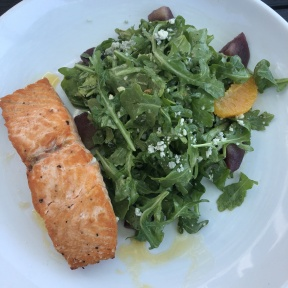 Gluten-free salmon on salad from Harbor Lights