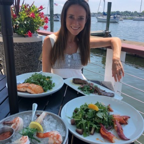 Jackie McEwan eating at Harbor Lights