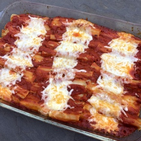 Cheese Manicotti out of the oven