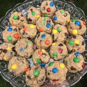Gluten-free Monster Cookies on a platter