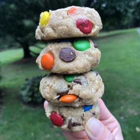 Stack of gluten-free Monster Cookies