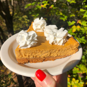 Gluten-free Pumpkin Cheesecake with whipped cream