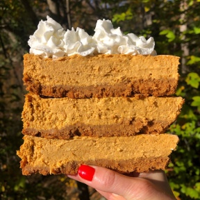 Stack of gluten-free Pumpkin Cheesecake