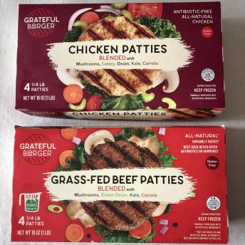 Gluten-free chicken and beef patties by Grateful Burger