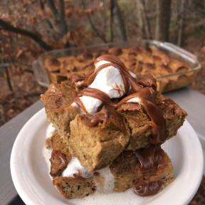 Stack of Pumpkin Bread Pudding