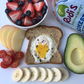 Gluten-free Egg in a Hole with Rudi's bread