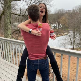 Jackie and Brendan drinking Wild Basin