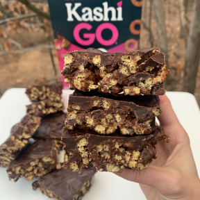 Making Chocolate Peanut Butter Cereal Bars with KashiGO keto-friendly cereal