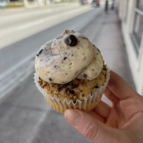 Gluten-free chocolate chip cookie cupcake from Dora's Bakery and Bistro