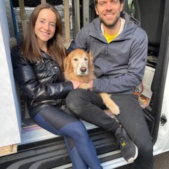 Jackie and Brendan in the sprinter van