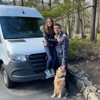 Jackie and Brendan with the sprinter van in Connecticut