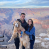 Jackie, Brendan, and Odie in the Grand Canyon