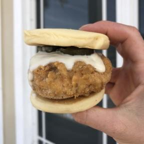 Gluten-free vegan fried chicken sliders from PAC Pastries in Florida