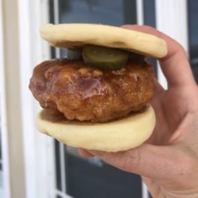Gluten-free vegan fried chicken pancake sliders from PAC Pastries