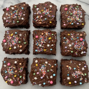 Gluten-free Cosmic Brownies with rainbow sprinkles
