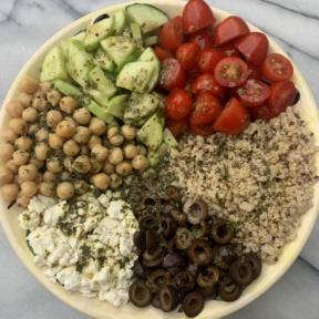 Making gluten-free Greek Quinoa Salad