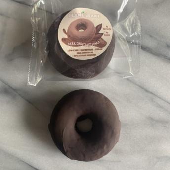 Gluten-free dark chocolate donut by Planet Bake