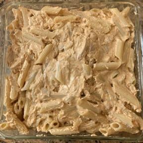 Making gluten-free Buffalo Chicken Pasta Bake