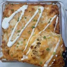 Gluten-free Buffalo Chicken Pasta Bake with ranch dressing