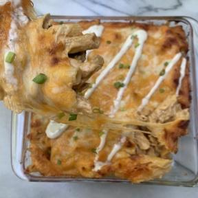 Cheesy Buffalo Chicken Pasta Bake
