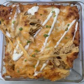 Cheesy Buffalo Chicken Pasta Bake with green onion