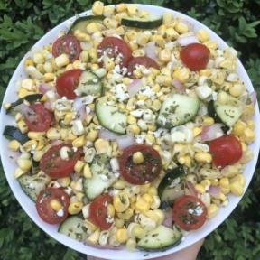 Corn Tomato Cucumber Salad with feta cheese