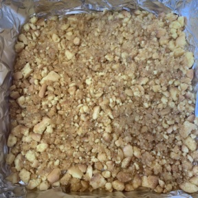 Making crust for Banana Pudding Cheesecake Bars