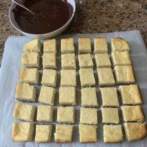 Making gluten-free Chocolate Dipped Cheesecake Bites