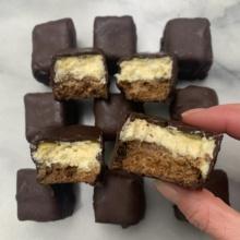 Gluten-free Chocolate Dipped Cheesecake Bites