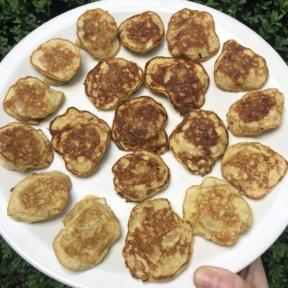 Making gluten-free Mini Banana Stuffed Pancakes