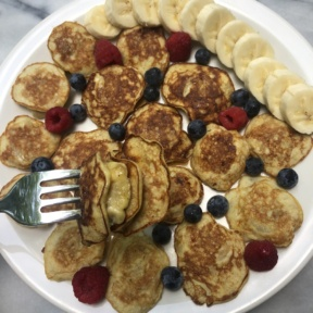 Gluten-free paleo Mini Banana Stuffed Pancakes