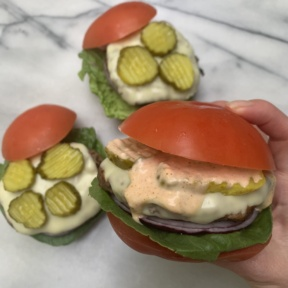 Spicy Burgers with Tomato Buns