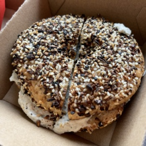 Gluten-free vegan everything bagel from Root2Rise NY