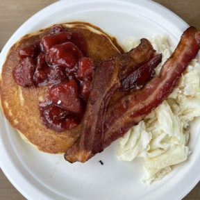 Gluten-free strawberry pancakes from Twist Bakery Cafe