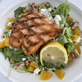 Gluten-free salad with salmon from The Boathouse