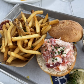 Gluten-free lobster roll with fries from The Boathouse